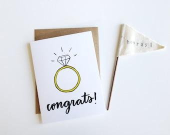 Congrats Engagement Ring Bling Card