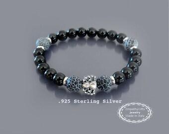 Buddhist meditation bracelet Sterling silver spider charm, crab agate bracelet Wrist mala beads Black onyx bracelet mala Men mala bracelet