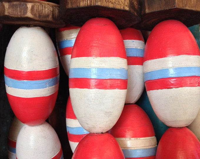 Red, Blue, White, Lobster Buoy Nautical Wooden by SEASTYLE
