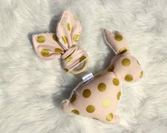 Baby girl easter etsy belles bows bunny softie pink and gold dot and matching organic wooden teetherby negle Choice Image
