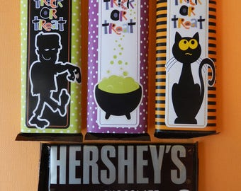 Halloween Candy Bar Wraps, 6 Spooky Hershey BarWraps, Co-Worker Treats, Party Favors, Party Treat, Trick or Treat, Neighbor Gifts, Gift Idea