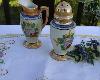 Hand Painted Lusterware Sugar Shaker and Creamer Pitcher Set; Vintage Lusterware, Vintage Sugar Shaker, Vintage Creamer, Pitcher, Seiei