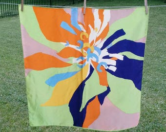 Vintage abstract floral scarf 27x27