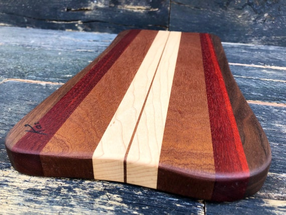 Cheese board made from mahogany, maple, bloodwood and walnut woods