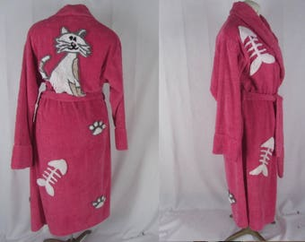 Vintage Cat Chenille Robe M PINK Cotton Blend Canyon Group