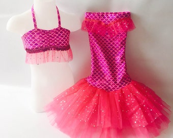 """Little Mermaid Princess Costume for Dress-Up,Portraits or Halloween! """"Hot Pink"""""""