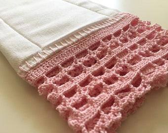 Baby girl burp cloth. Baby shower gift. Crochet. Pink. Newborn. Burping.