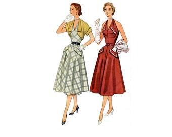 1950s Halter Dress Pattern Short Bolero Bare Back V Neck Halter Dress Kimono Sleeves Simplicity 8395 Bust 32 Vintage Sewing Pattern