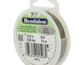 Beadalon Bead Stringing Wire, 7 Strand, .015 inches, 30' Spool, Bright