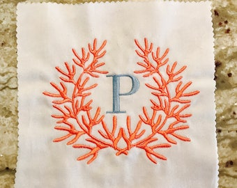 White Linen Hemstitch Guest Towel with Coral Wreath and Single Initial Monogram
