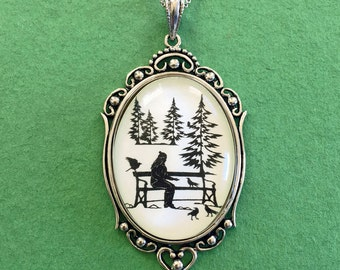 WINTER AFTERNOON Necklace, pendant on chain - Silhouette Jewelry