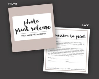 Print Release Form Template for Photographers - Photographer Business & Client Forms - Photoshop PSD *INSTANT DOWNLOAD*