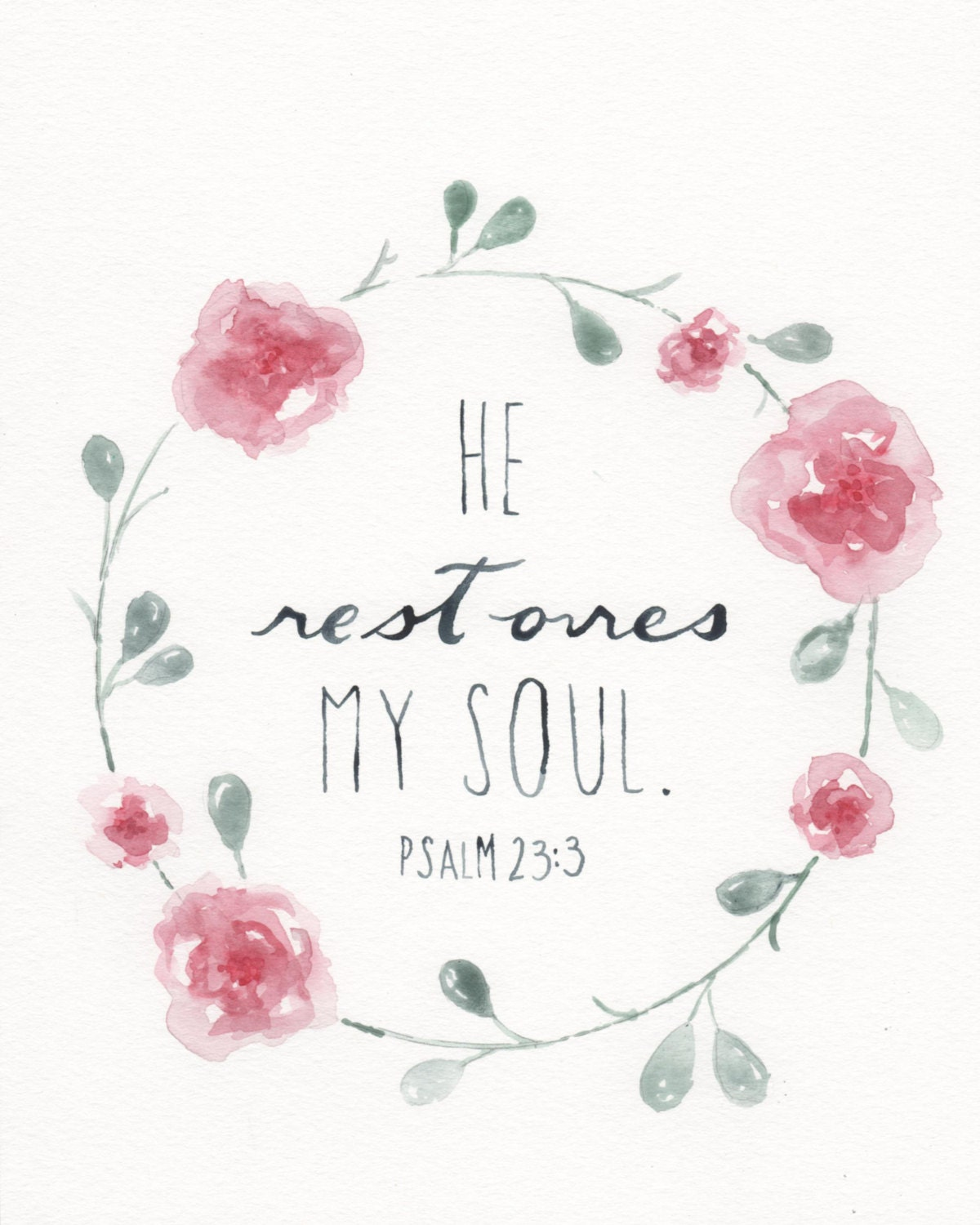 Scripture Painting Watercolor Flower Bible Verse