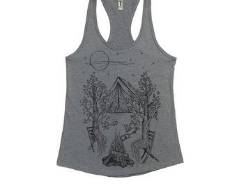 Camping Tank Top for Women - Outdoors Tank Top  - Campfire Shirt - Trees Tshirt - Womens Tank Tops - Bonfire - Tenting - Funny Tank Tops