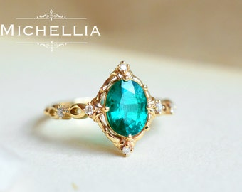 LAST TWO - Ready to Ship - Victorian Oval Ring in Lab Emerald, 14K Rose Gold and Size 5.5 or 6.5, R5006