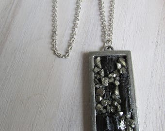 Tourmaline and Pyrite pendant