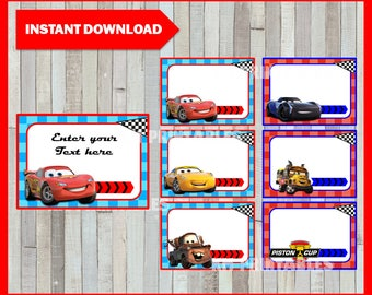 Disney Cars 3 Printable Cards, tags, book labels, stickers, kids cards, gift tags, labeling, scrapbooking EDITABLE INSTANT DOWNLOAD
