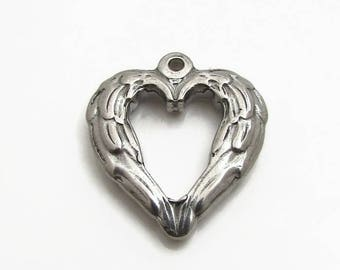 Stainless Steel Angel Wing Heart Charm, Angel Wing Charm, Silver Wing Pendant, 20x22x4mm, Set of 3, Stainless Steel Heart Wing Charm (118)