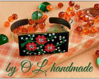 Micro embroidery Ukrainian embroidery of bracelet,Hand Embroidery,Gift for women, embroidered  jewelry
