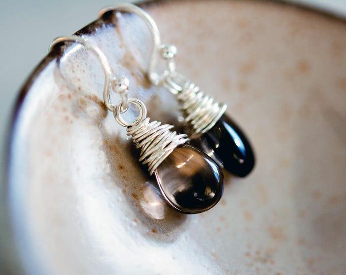 Smokey Quartz Earrings, Crystal Earrings, Drop Earrings, Dangle Earrings, Gemstone Earrings, Sterling Silver, PoleStar