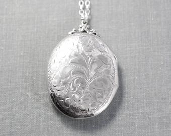 Sterling Silver Locket Necklace, Extra Large Oval Vintage Pendant - Dearest