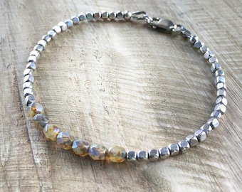 Cream and Silver Layering Bracelet - 7inch