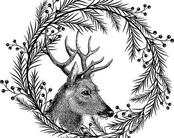 Deer Wreath Printable Holly Clipart Black Christmas