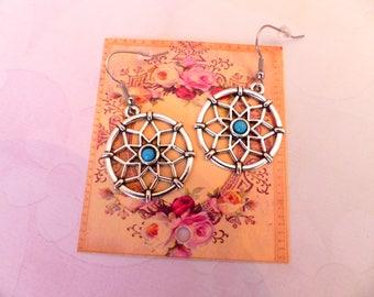 Blue Pearl mandala earrings