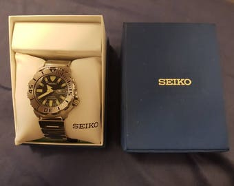 Seiko Black Monster 200M Automatic #7S26-0351 Day/Date Diver Watch