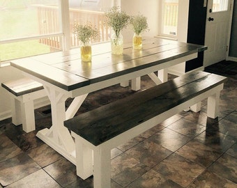 Country/Rustic Dining Table U0026 Matching Benches