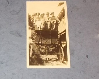 Vintage 1930s Small Photograph or Snapshot-Man and 3 Women in a Wagon Minus Horses-FREE SHIPPPING!