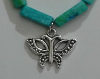 Butterfly Charm on Beaded  Bracelet with Lobster Claw Clasp