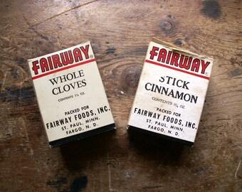 Vintage Fairway Spices Boxes - Cinnamon and Cloves - Retro Kitchen Decor