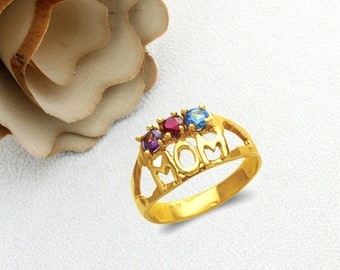 Mother's Day Gift 14K Real Solid Gold MOM Ring With Amethyst Ruby Blue Topaz Color CZ Band Size 5 to 9