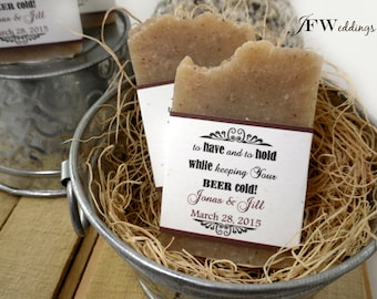 50 BEER SOAP Favors | Bridal Shower | Wedding | Rustic Labels | Personalized Message ~ Handmade in 7 days