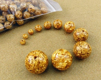 Gold foil beads, jewelry supplies, components 50pcs as set