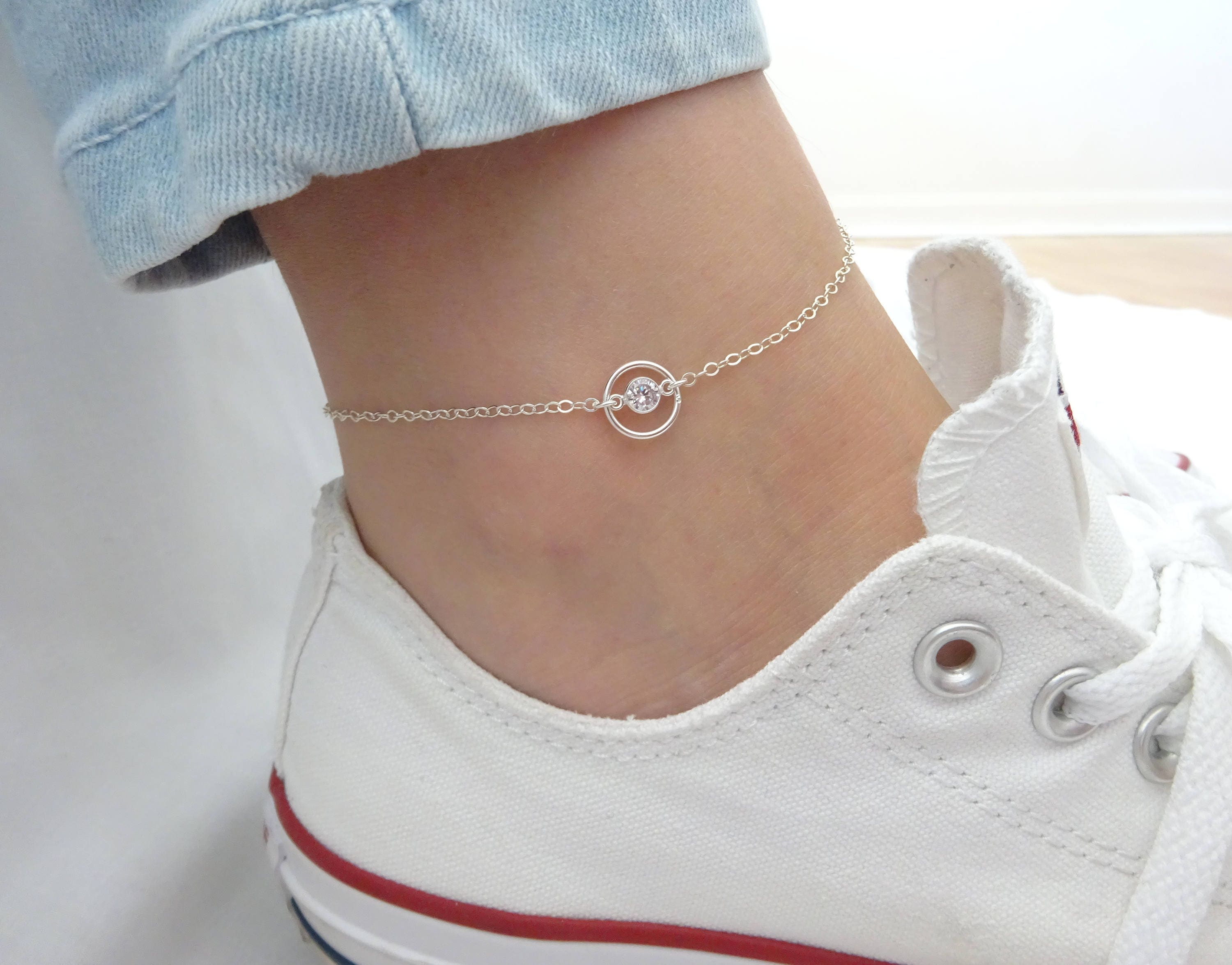 bracelet ankle pin sterling zirconia girls and women foot anklet for cubic silver beach charms