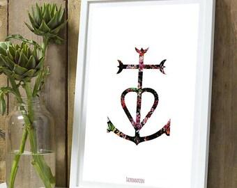 Cross of Camargue flower A4 poster
