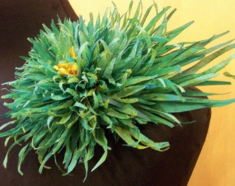Asymmetric Seagreen Yellow Chrysanthemum Silk Flower hair pin or brooch