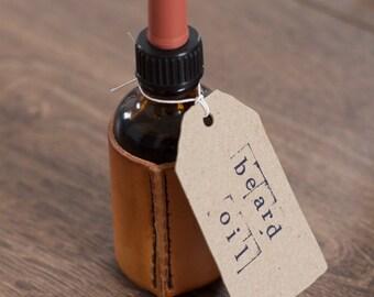 Bart Öl / / Bart Öl mit Bio Mandelöl, Bergamotte und Kiefer in Lederhülle