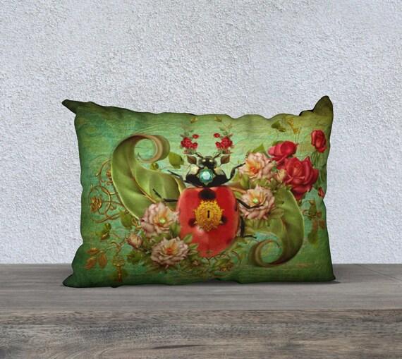 vinatge style whimsical Ladybug art cushion cover