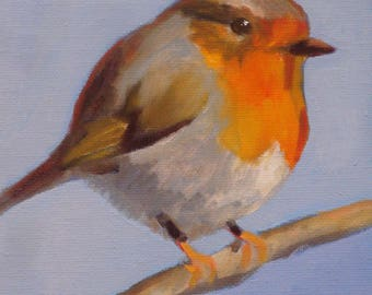 English Robin Oil Painting//Red Breasted Bird//Gray Blue Sky//5.5 x 5.5 x .75 inches with Hanger//Painted Sides and Back