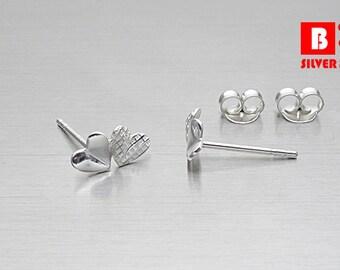925 Sterling Silver Earrings , Twin Heart Earrings, Stud Earrings (Code : ED04)