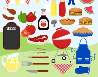 BBQ Clipart, Cookout Clipart, Grill Clipart, Hamburgers, Summer, Picnic, Printable, Commercial Use