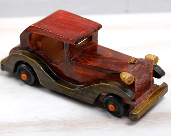 Vintage Hand Made Wooden Car Toy Model Wooden Retro Car Montessori Waldorf Natural Toy Gift for Kids Rare Collectible Brown Toy Car ohtteam