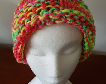 Ladies Hand Knitted Beanie Fluro