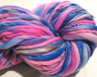 Super Bulky Handspun Yarn Anusara 106 yards hand dyed merino hot pink blue purple  waldorf doll hair knitting supplies crochet supplies