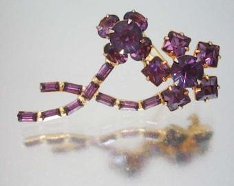 Purple Juliana Rhinestone Flower Brooch Pin Vintage D & E r