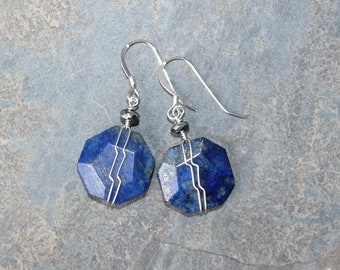 Lapis Earrings, Sterling Silver Earrings, Wire Wrapped Earrings, Blue Earrings, Natural Stone Earrings, Lapis Lazuli Earrings, For Her