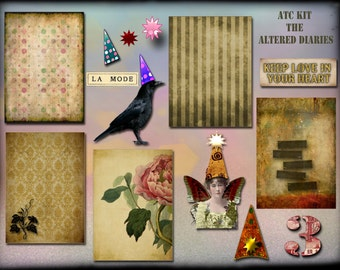 ATC Kit Collage Sheet, ACEO backgrounds, Altered Art Collage Sheet, Raven, Pointy Hats